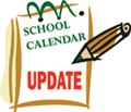 "Small calendar page with pencil angled to write on it. Pages shows text that reads ""School Calendar Update"" in green and red text."