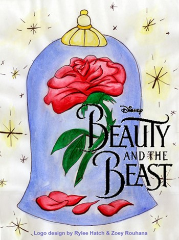 "Red rose under a glass jar set against as starry cream background with black text superimposed that reads ""Beauty and the Beast."""