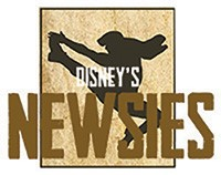 Large text reading Newsies over the black (silhouetted) figure of a newsboy jumping in the air.
