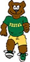 "Artwork of a brown running bear wearing a green ""Vestal"" shirt and sneakers with yellow shorts."