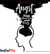 Black cloud over the outline of a person's head with the words Angst: Raising Awareness Around Anxiety funneling up from the head into the black cloud.