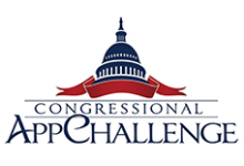Blue Congressional Rotonda with red banner beneath it and the word Congressional App Challenge