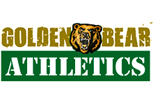 Green and Gold Golden Bear athletics logo with snarling bear head.