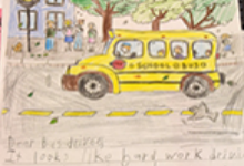 A thank-you letter for a Vestal Central School District bus driver has a drawing of yellow school bus at the top.