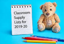A light brown stuffed bear toy sitting next to a steno pad of paper with the words Classroom Supply Lists for 2019-20. In the foreground are four colored pencils and all is against a bright blue background.