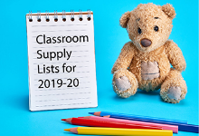 Brown stuffed bear next to an open steno pad with words that read Classroom Supply Lists for 2019-20; four colored pencils are scattered in the foreground.