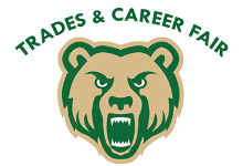 Green and gold Golden Bear logo with the words Trades and Career Fair arced above its head.