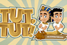 Tut, Tut! A Beat by Beat Musical with two cartoon-style figures of a pharaoh, a regular Egyptian and a camel.
