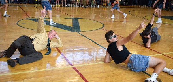 "Vestal HS Principal participates in ""Dance Off"" with seniors during the Fall Pep Rally on October 5, 2017."