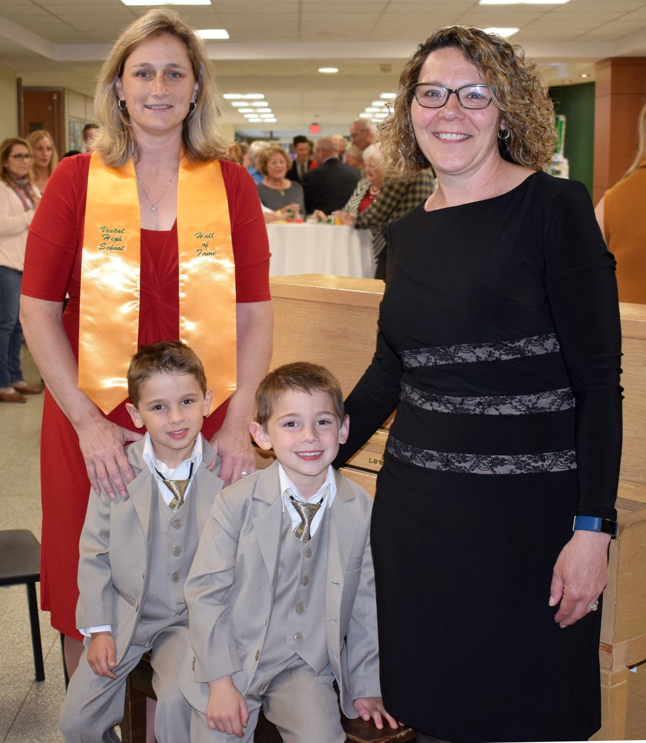 Rachel and Christine Laquidara-Kolvek with their two sons during the reception.