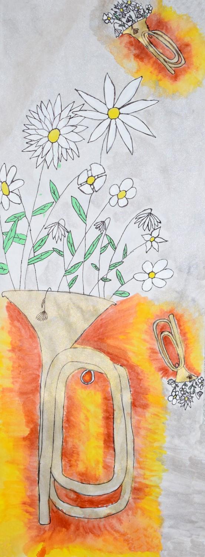 Daisies in Trumpet by Hallie Milligan