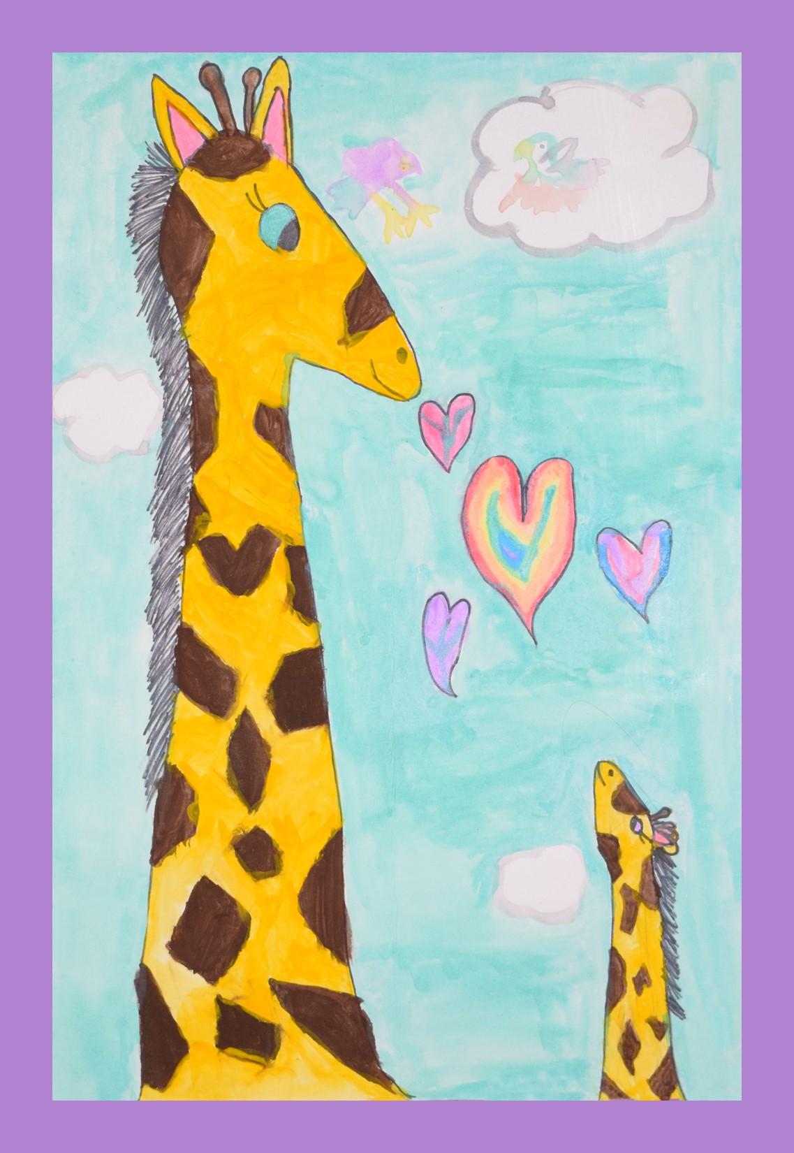 April the Giraffe and her baby, Tajire, by Raisa Cui