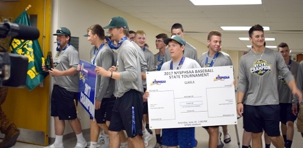 Golden Bears' baseball players parade through the school as New York State Champions
