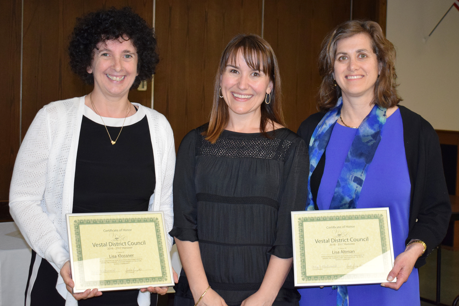 Vestal Hills P T A  Honorees Lisa Klossner and Lisa Altman receive their District Council certificat