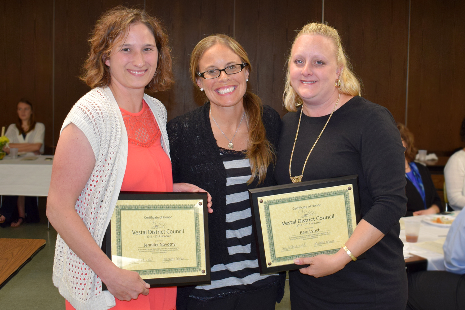 Tioga Hills PTA President Shelley Mones with Honorees Jennifer Novotny and Kate Lynch at the Distric