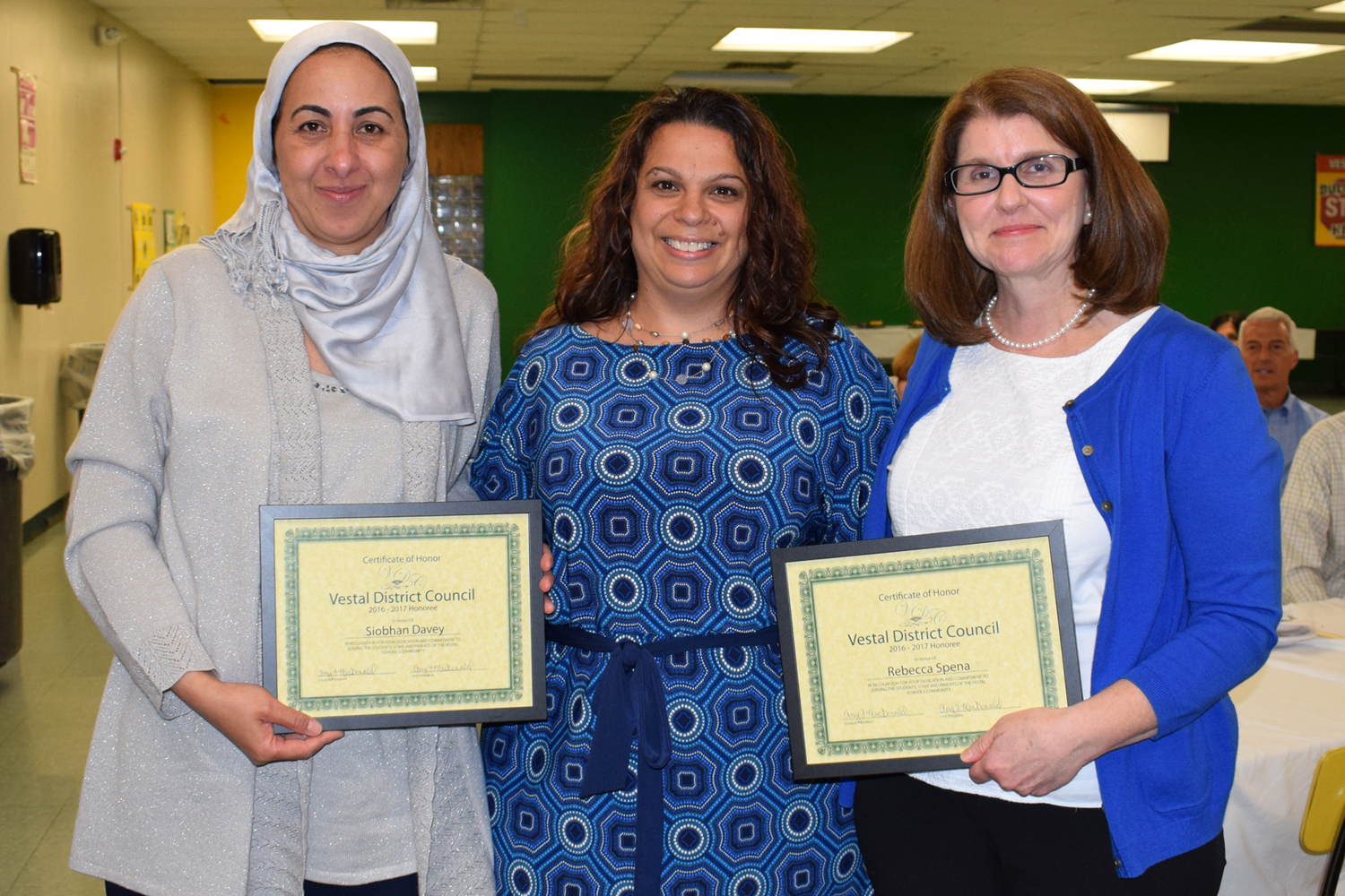 District Council representatives for the Vestal Middle School PTO, Khadija El Ghissassi and Eleni Fo