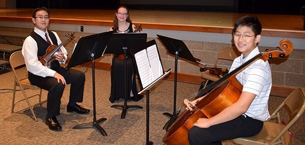 A student string quartet, minus one member, sits waiting to perform in the auditorium at Vestal Middle School during the School Board's school spotlight on October 9, 2018