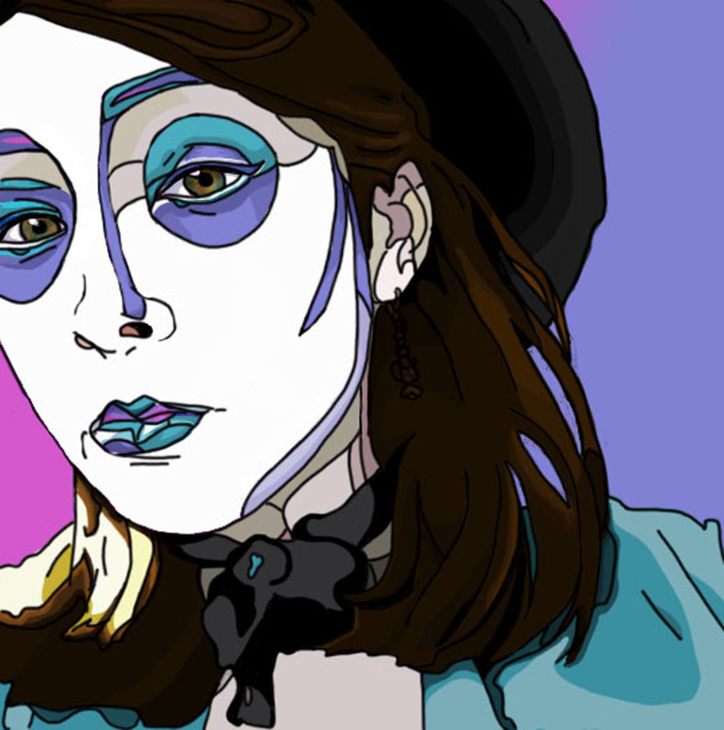A graphic-art style self portrait done in black purple, teal, white and magenta colors.