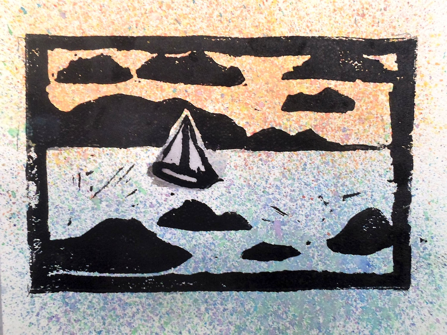 Landscape of a sailboat, which looks like it is a stamp or screen print.