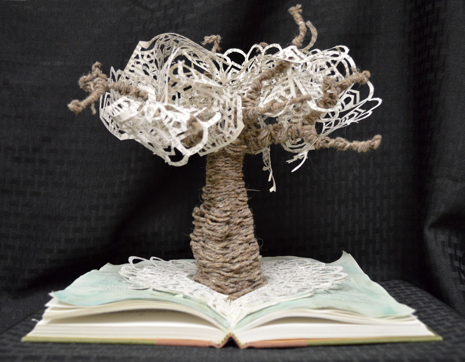 A small tan and ivory tree made from yarn and lace appears to be growing out of an open book, and is
