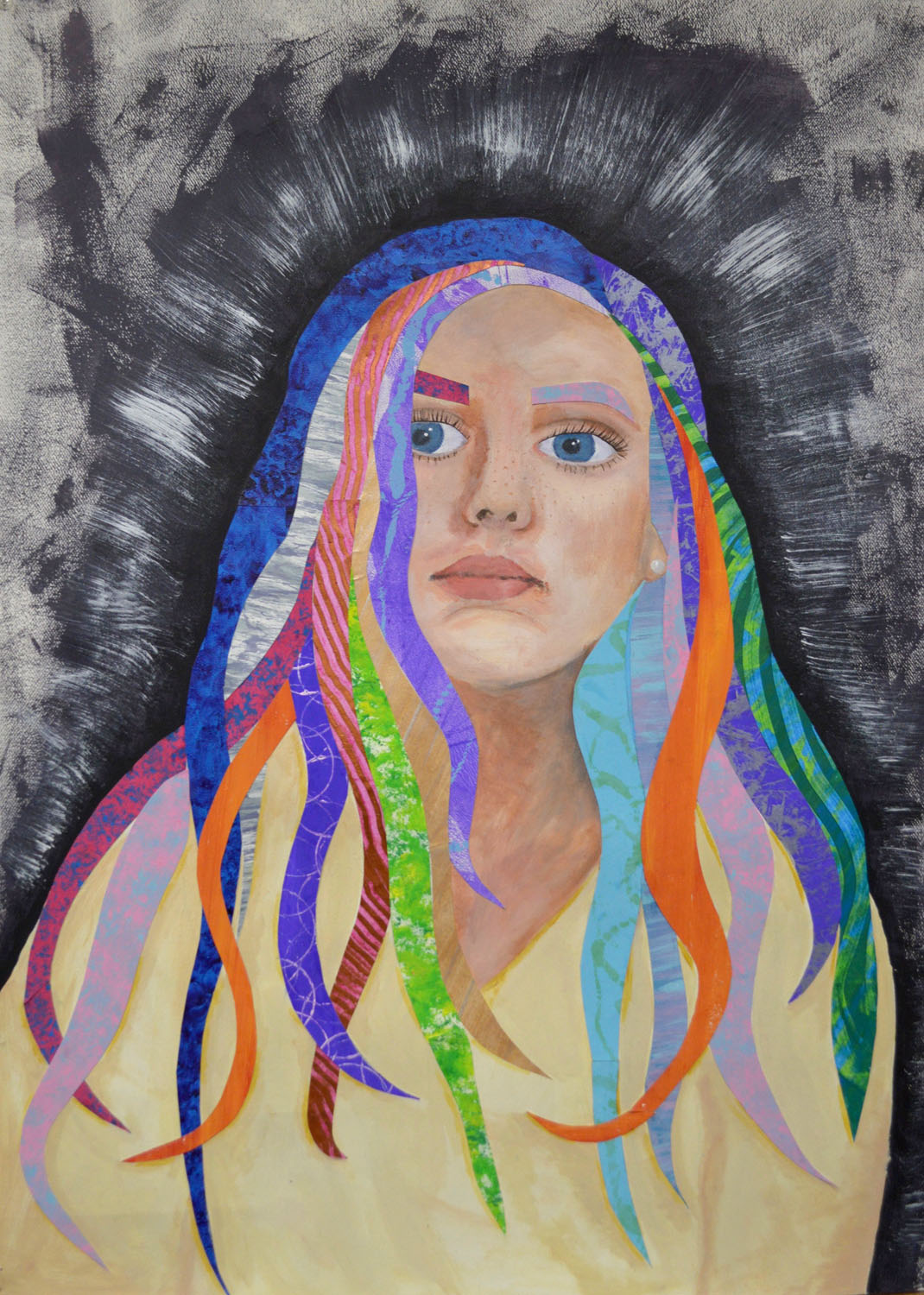 A self-portrait of a girl with multi-colored locks of hair framing her face and cascading down her s