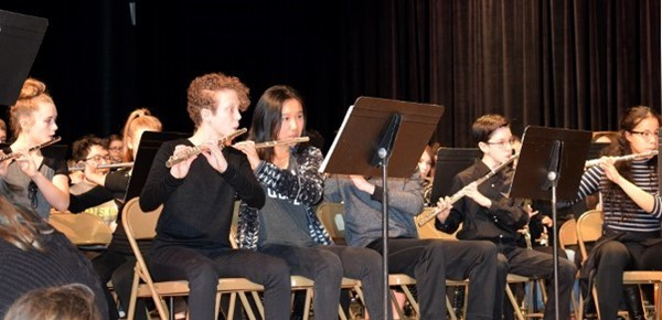 "Orchestra members in grades 7 and 8 play during an assembly at Vestal Middle School to kick off ""Music in our Schools"" month, which is celebrated during March."