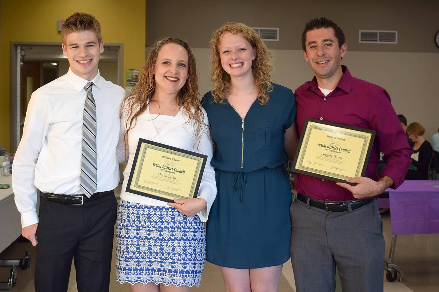 Vestal High School Student Government officers honor two music teachers as their honorees