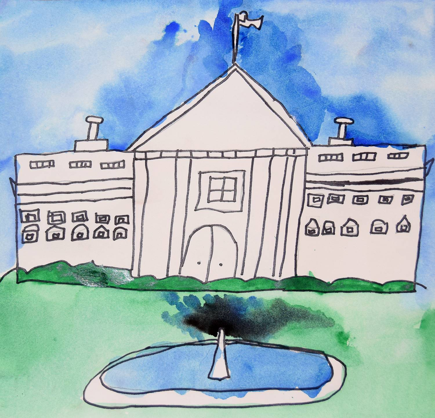 A watercolor painting of the white house by Bryson, a Clayton Avenue Elementary student.