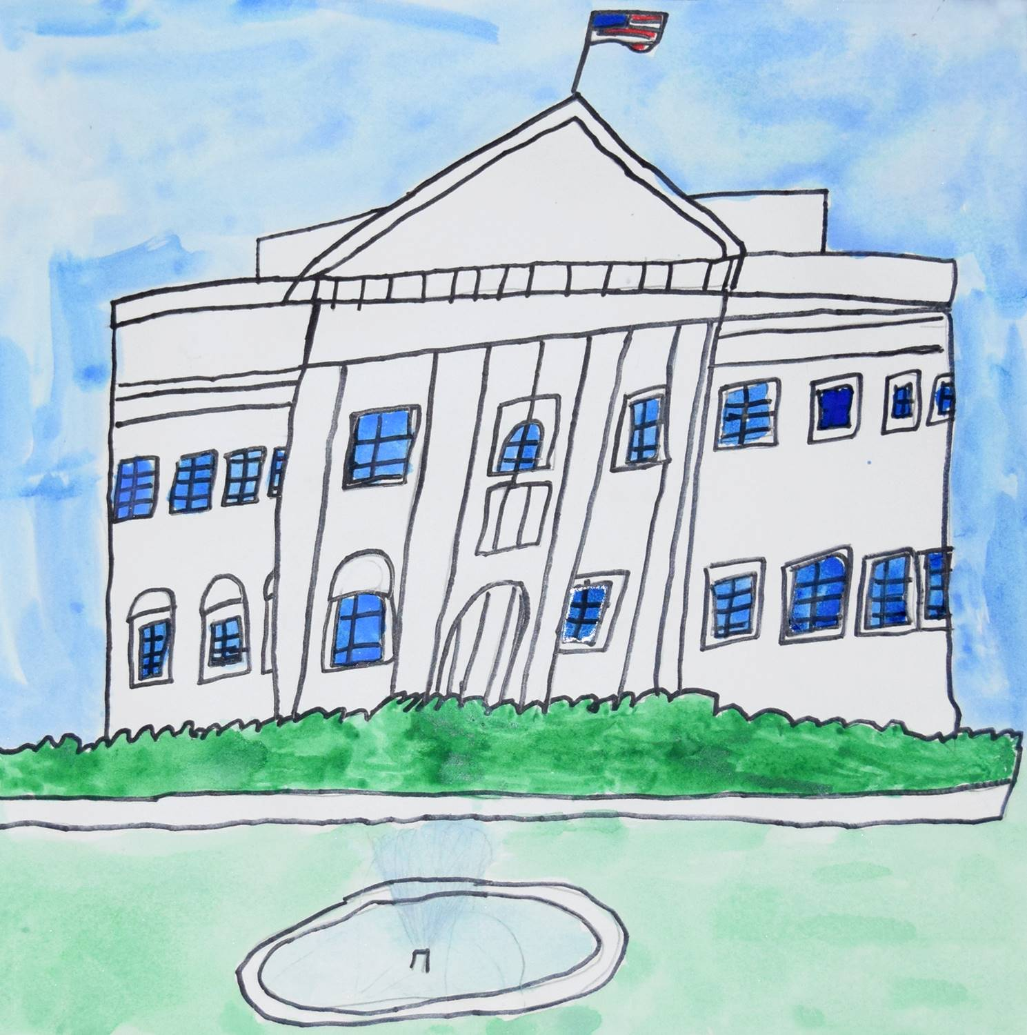 A watercolor painting of the white house by Alex, a Clayton Avenue Elementary student.