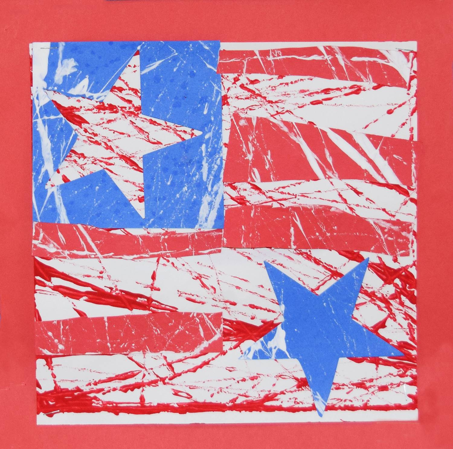 A red, white and blue montage of paint-splattered stars by Andrew, a Clayton Avenue Elementary stude