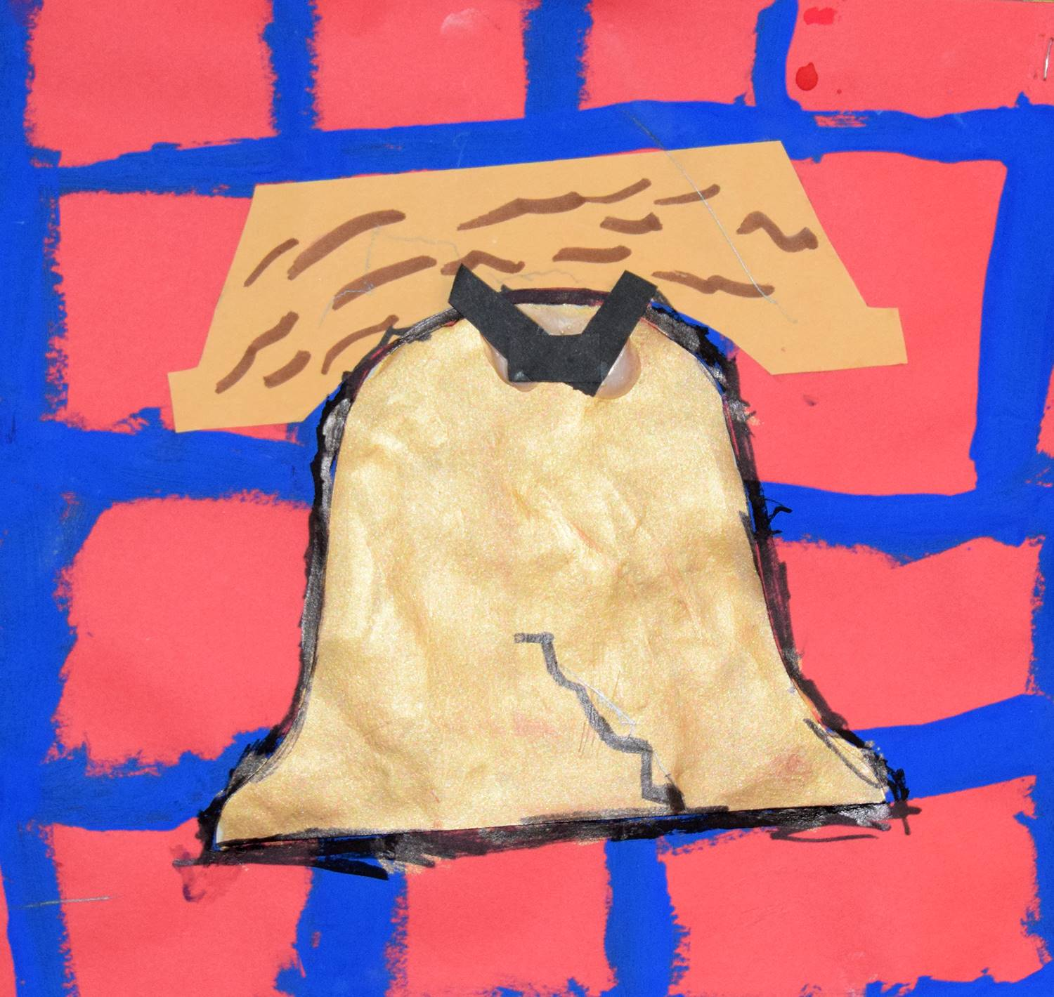 The Liberty Bell over red bricks by Tate, a Clayton Avenue Elementary student.