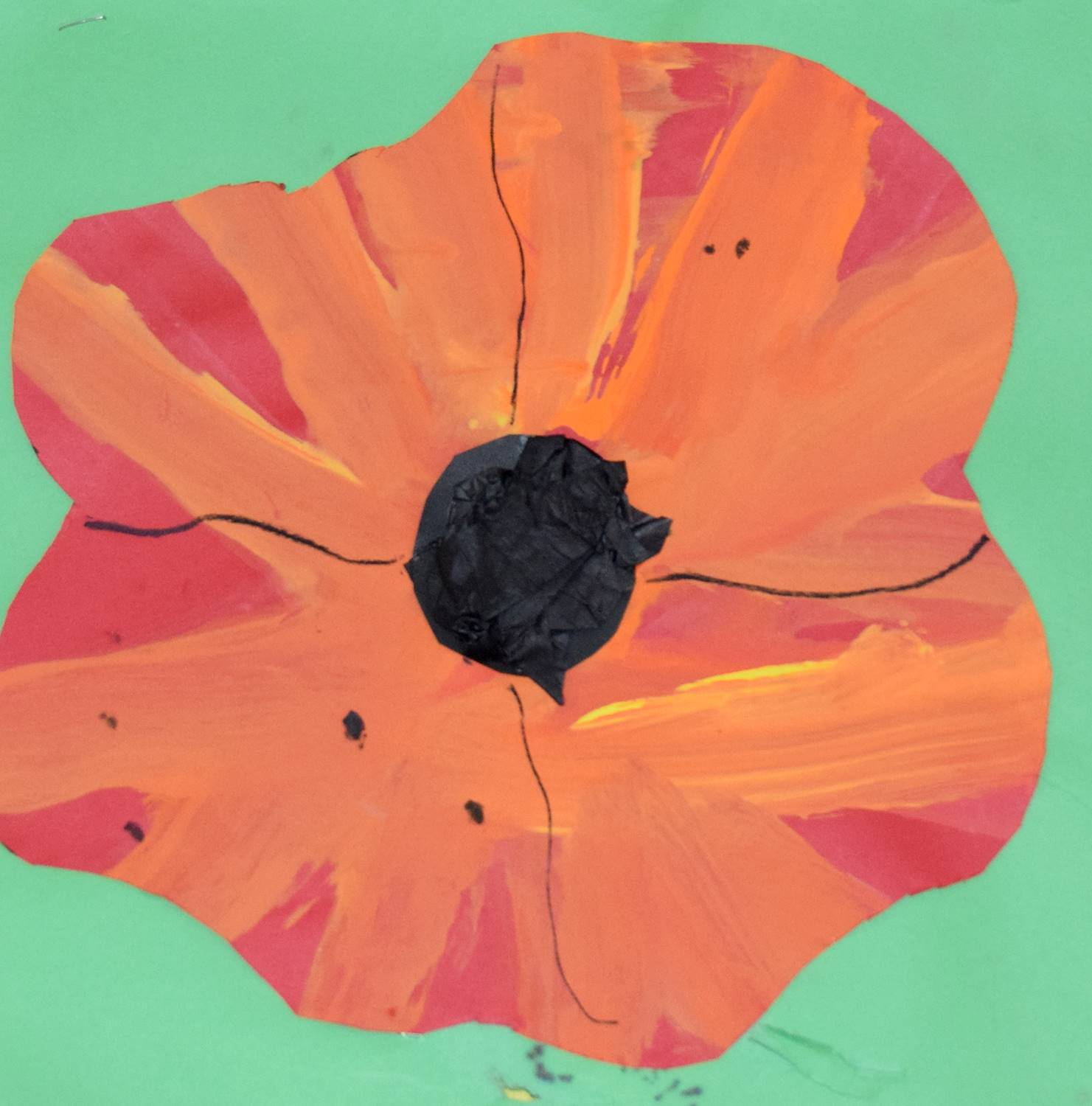 An orange and red poppy flower on green background by Gwen, a Clayton Avenue Elementary student.