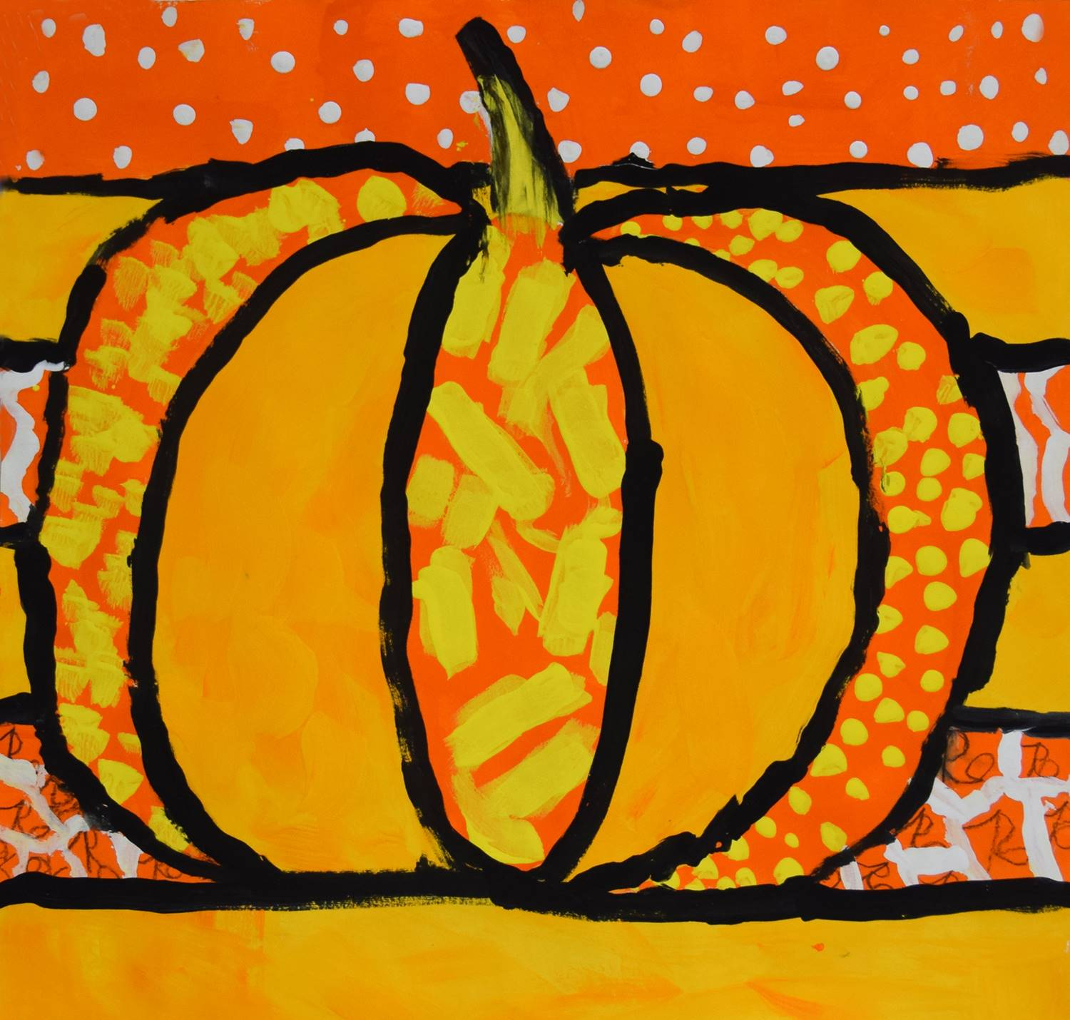 A bright pumpkin painted in dark orange, yellow orange, black, yellow and white by Rowan, Tioga Hill