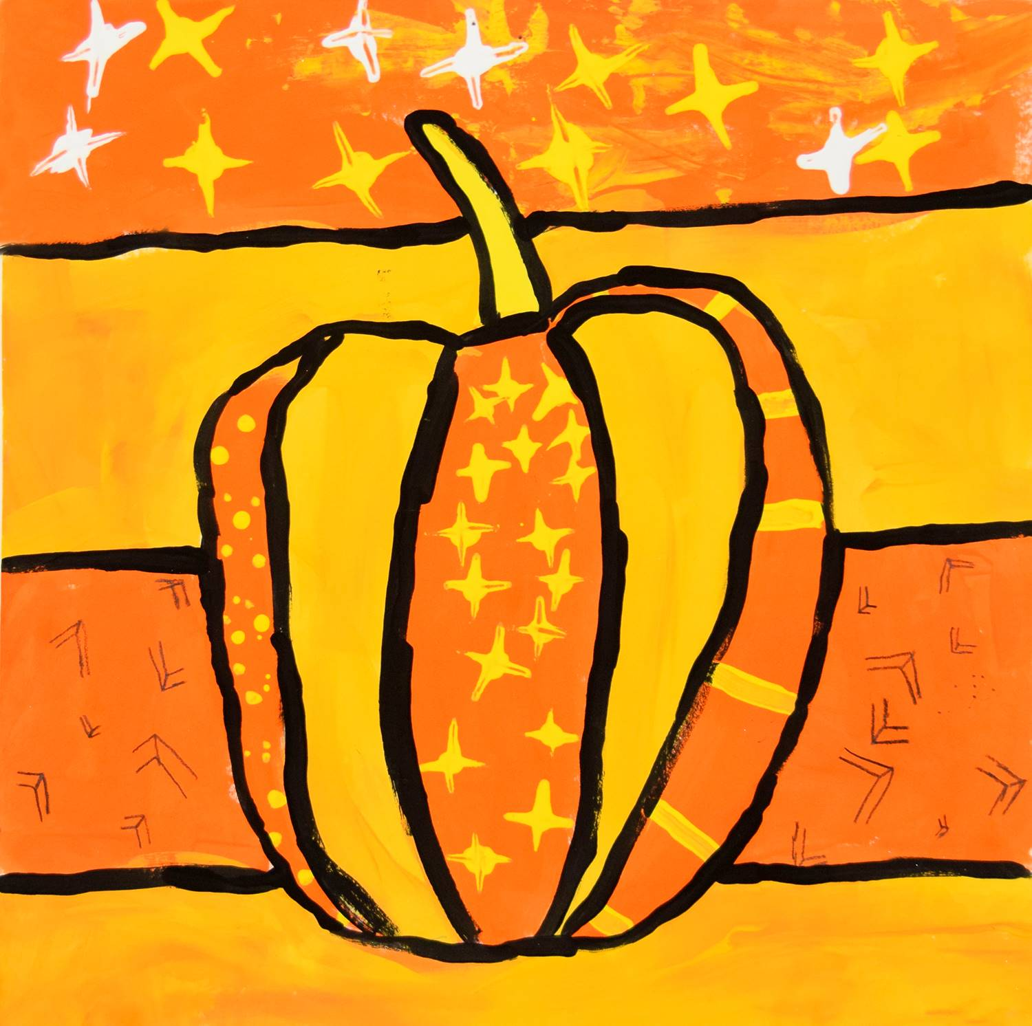 A skinnier pumpkin painted in dark orange, yellow orange, black, white and yellow by Lilly, Tioga Hi