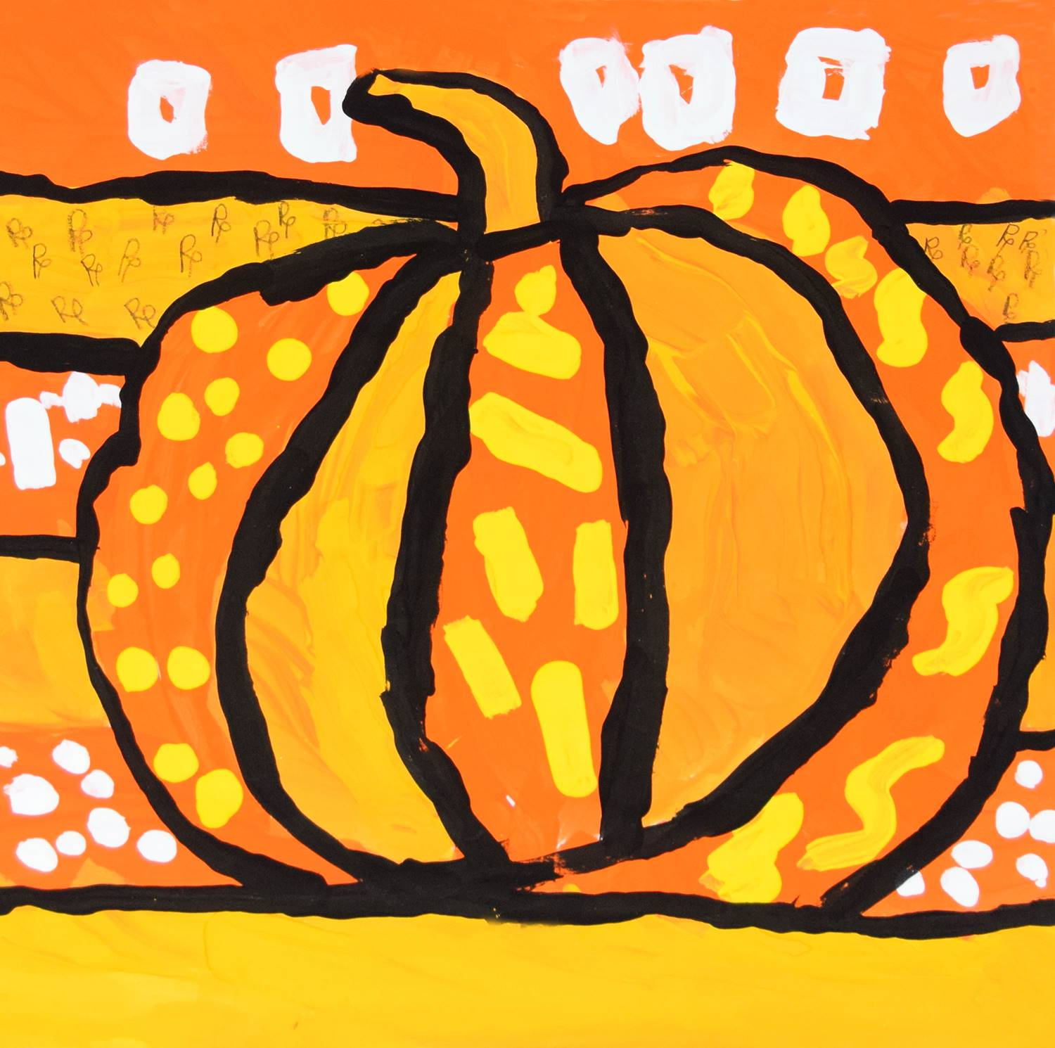 A brightly painted pumpkin in dark orange, yellow orange, black, white and yellow by Preston.