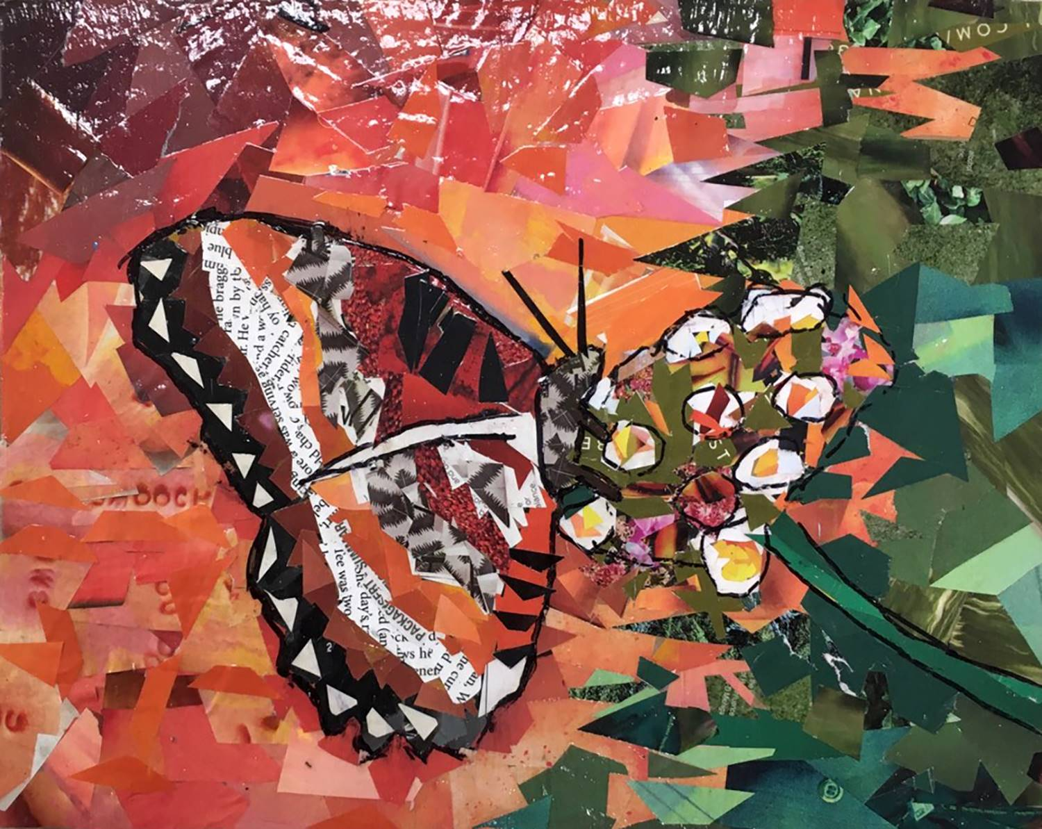 A montage creation of a Monarch butterfly on a flower created out of old magazines by Ariella at Ves