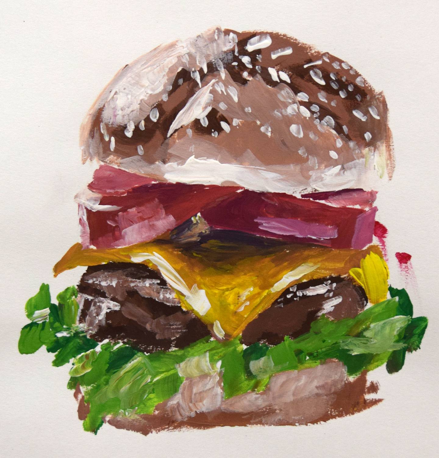 A hamburger with lettuce, cheese and tomatoes, painted by Vestal High School student Wyatt Zindle.