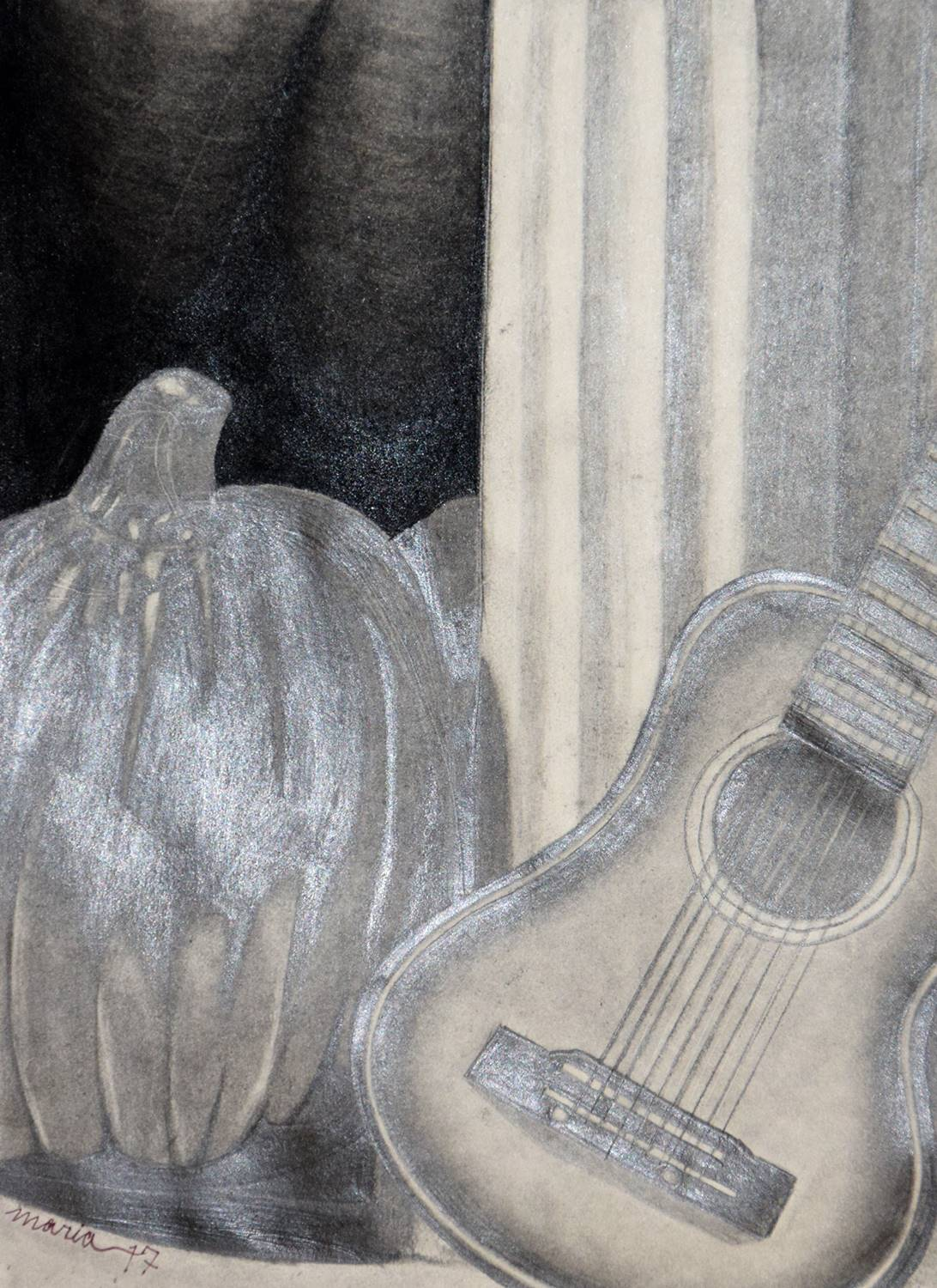 A charcoal-drawn still life of guitar by a pumpkin.