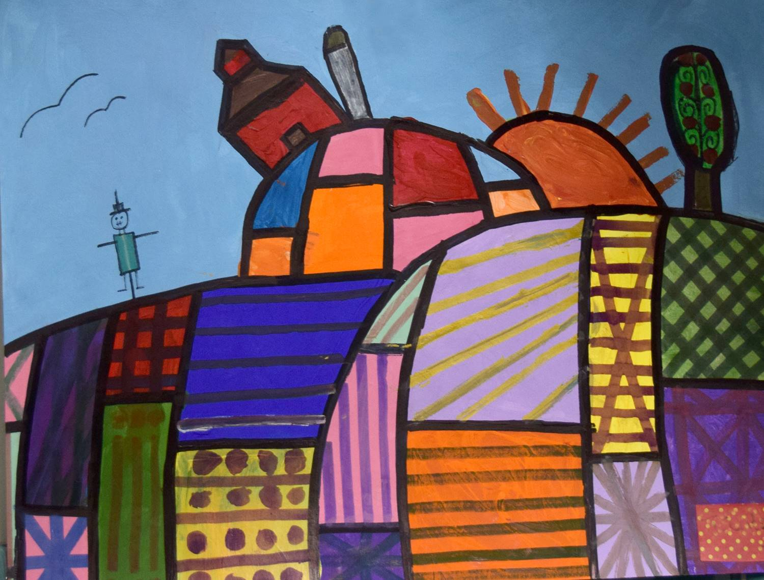 A red barn with silo tipped precariously atop a patchwork hill... By Trenton at Glenwood Elementary