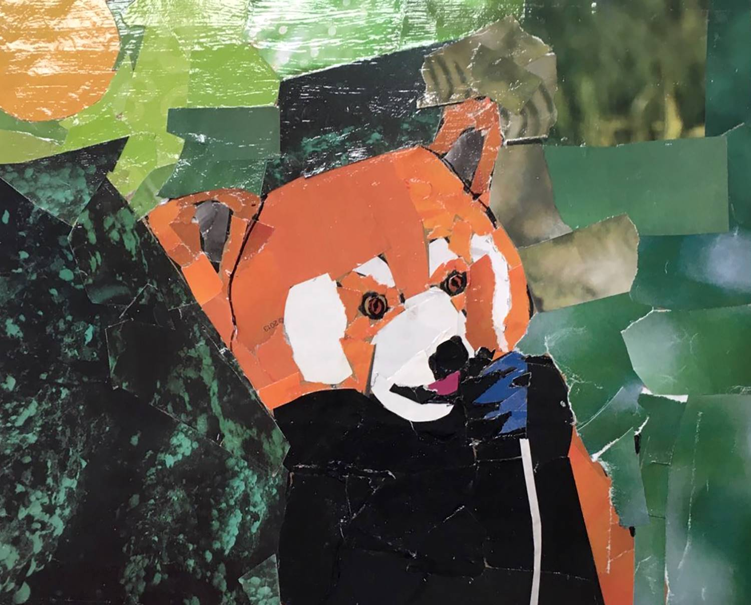 A koala bear mosaic made from old magazines by a seventh-grade student at Vestal Middle School.