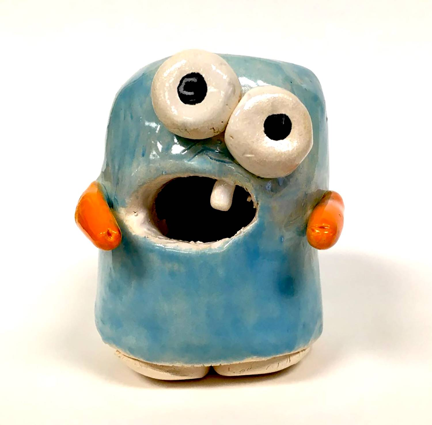 A blue ceramic monster made by a Vestal Middle School student