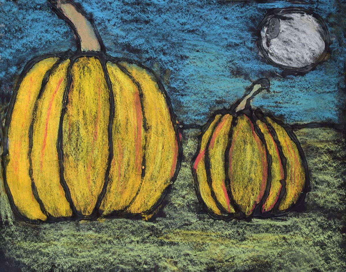 Pastel chalk orange pumpkins sit in a field  with a bluish sky and full moon in the background