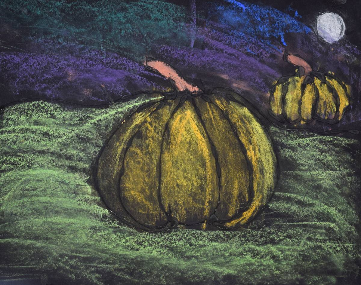Two pastel chalk orange pumpkins in a field at night with full moon and purplish-black sky in the ba