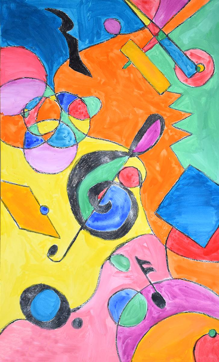 An abstract musical montage painted by a Vestal Hills Elementary School art student.