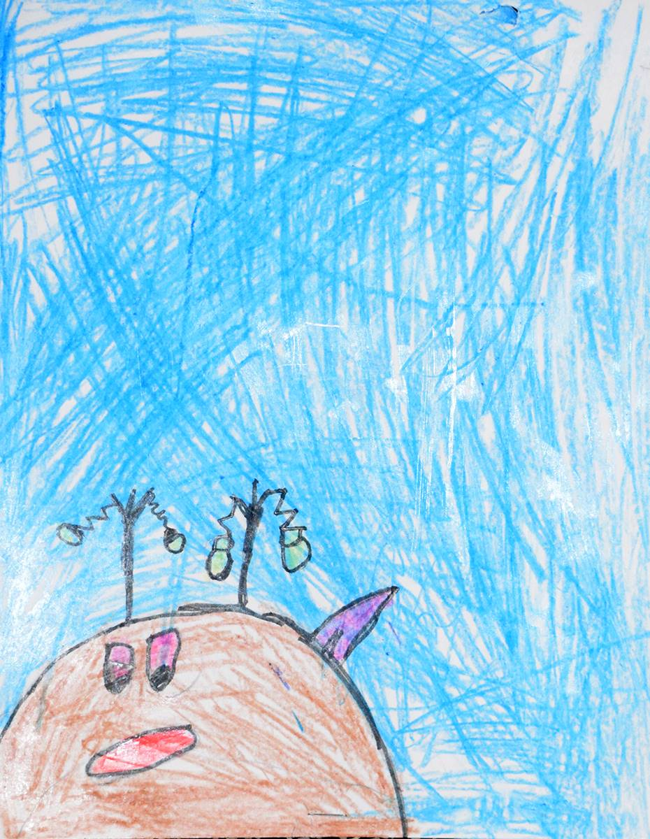 A Clayton Avenue Elementary student drew a brown reindeer with red nose and tiny Christmas bulbs han