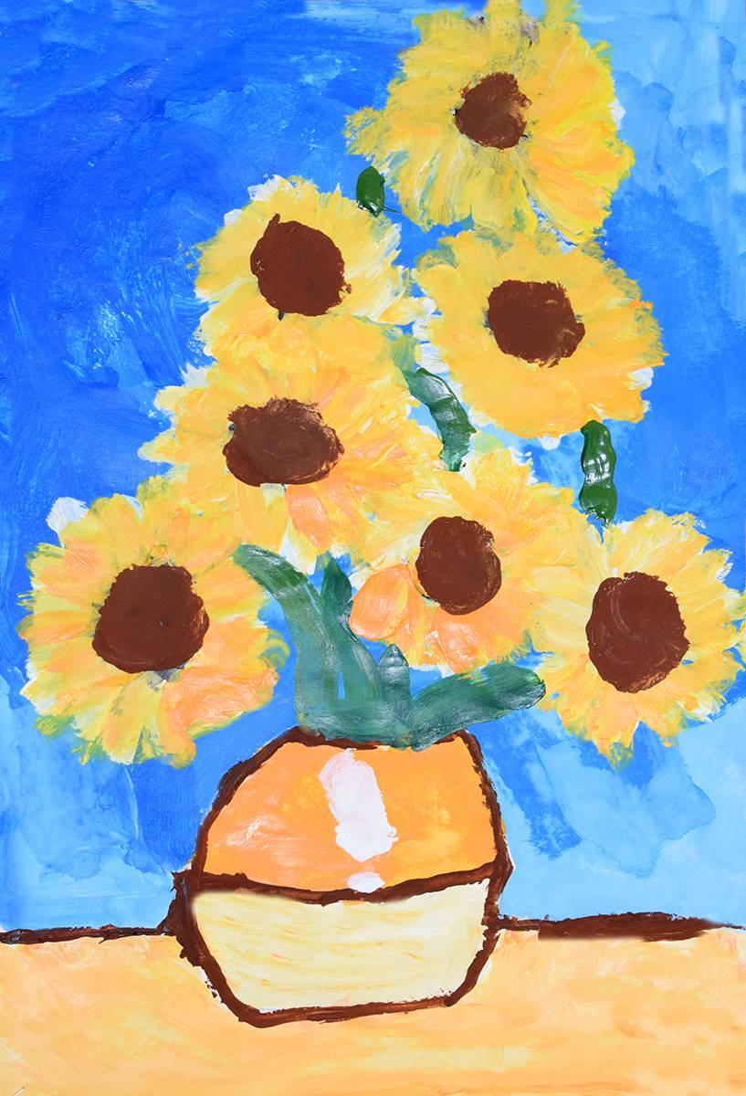 Yellow sunflowers in the style of Vincent Van Gogh created by a Clayton Avenue Elementary student.