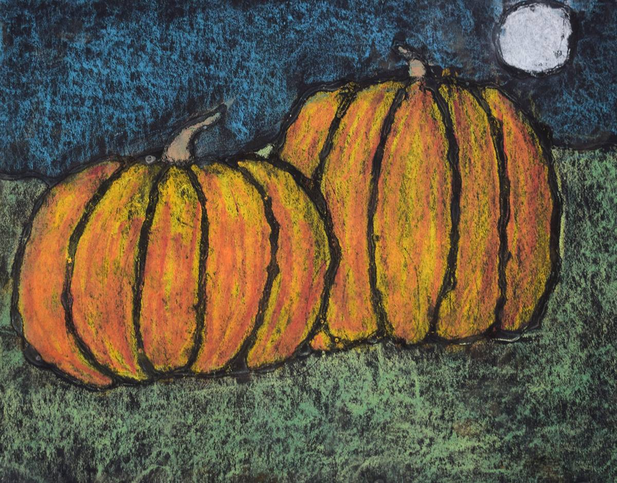 Pastel chalk pumpkins fill the foreground of artwork by a Clayton Avenue Elementary student. In the
