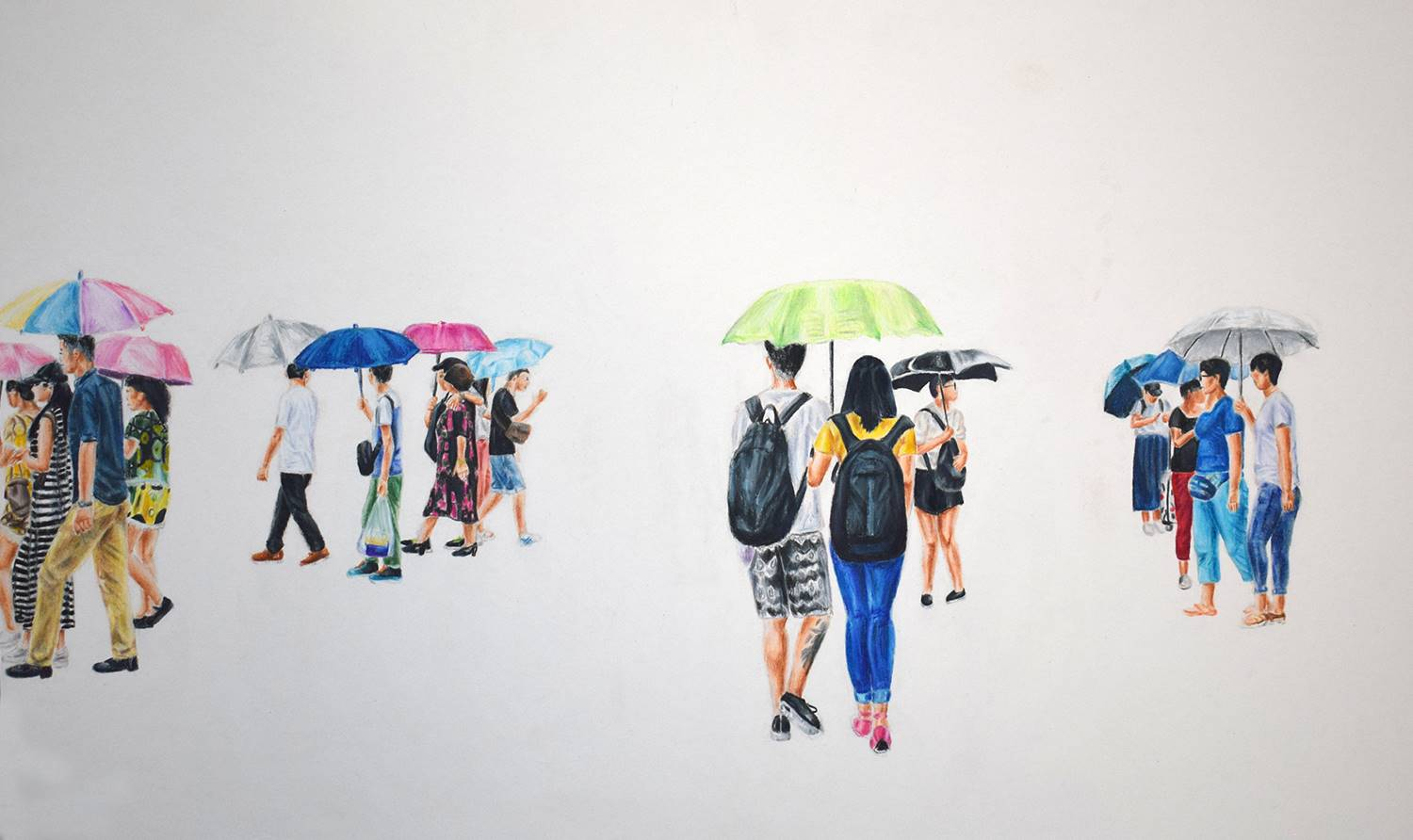Groups of young adults walking and holding different colored umbrellas against a white background.