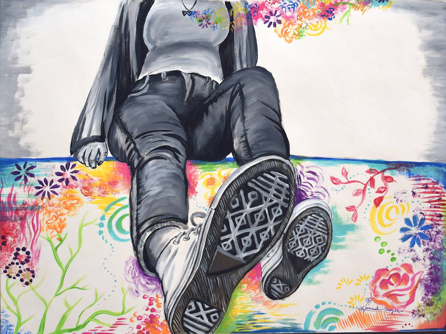 A self-portrait from the chest down of a girl with sneakers toward the viewer. Figure in gray and wh