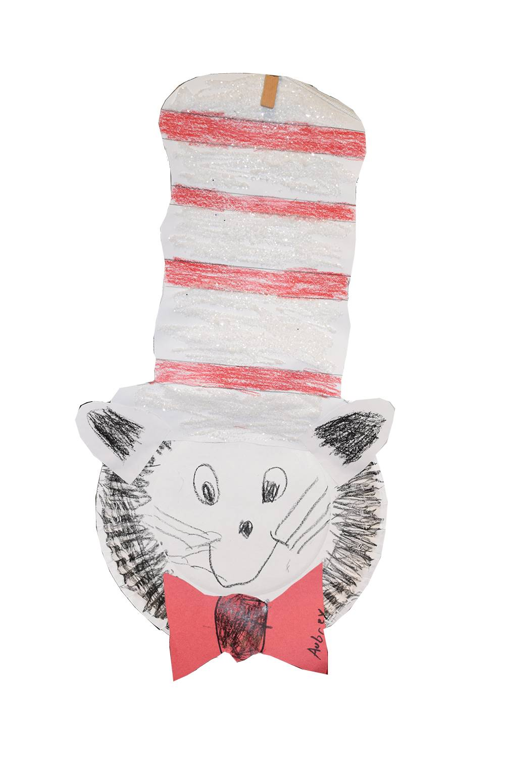 Cat in the Hat constructed out of a white paper plate, construction paper and crayons.